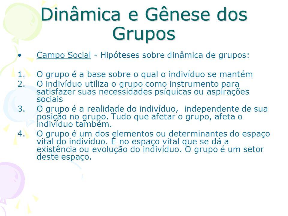 Dinâmica e Gênese dos Grupos Campo Social - Hipóteses sobre dinâmica de grupos: 1.O grupo é a base sobre o qual o indivíduo se mantém 2.O indivíduo ut