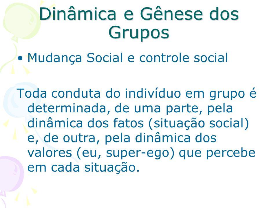Dinâmica e Gênese dos Grupos Mudança Social e controle social Toda conduta do indivíduo em grupo é determinada, de uma parte, pela dinâmica dos fatos
