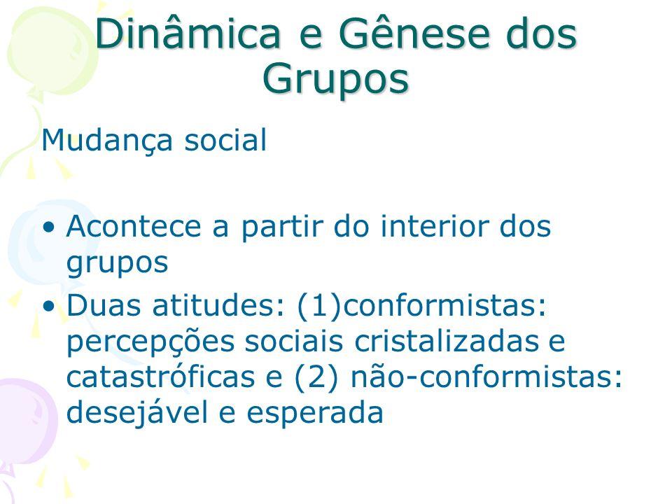 Dinâmica e Gênese dos Grupos Mudança social Acontece a partir do interior dos grupos Duas atitudes: (1)conformistas: percepções sociais cristalizadas