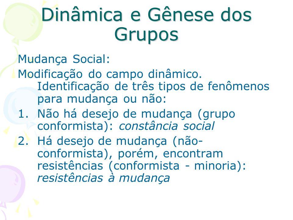 Dinâmica e Gênese dos Grupos Mudança Social: Modificação do campo dinâmico. Identificação de três tipos de fenômenos para mudança ou não: 1.Não há des