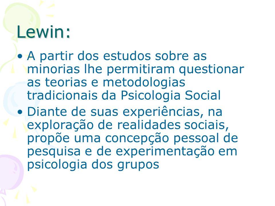 Lewin: A partir dos estudos sobre as minorias lhe permitiram questionar as teorias e metodologias tradicionais da Psicologia Social Diante de suas exp