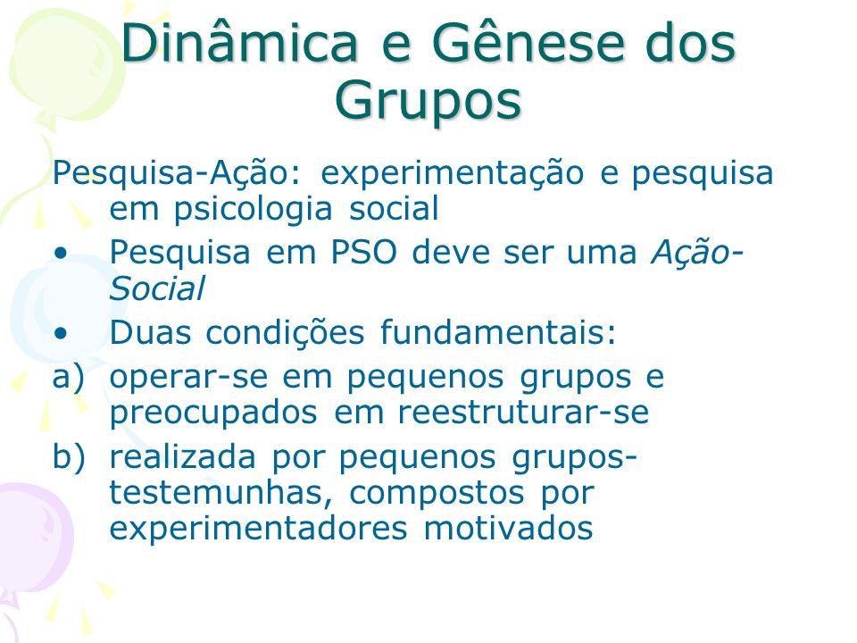 Dinâmica e Gênese dos Grupos Pesquisa-Ação: experimentação e pesquisa em psicologia social Pesquisa em PSO deve ser uma Ação- Social Duas condições fu