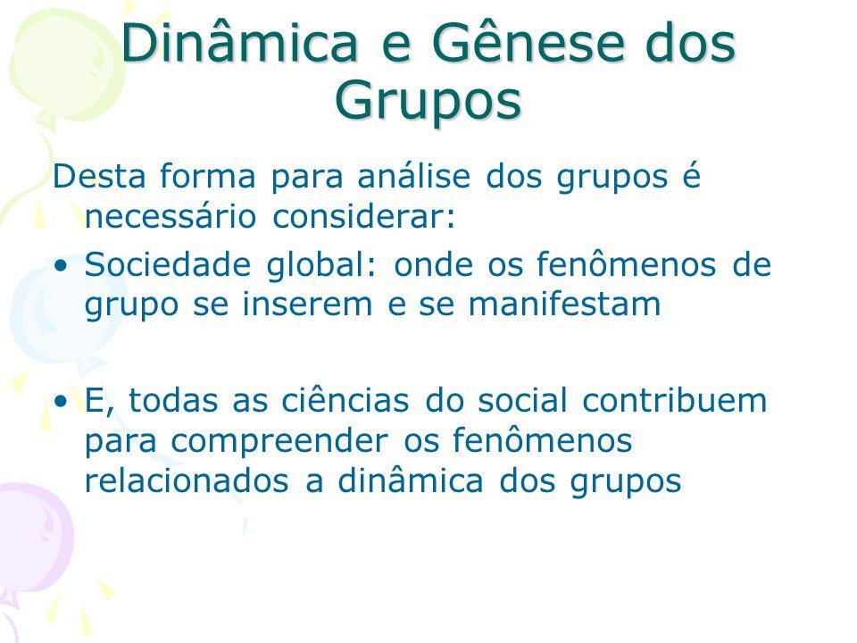 Dinâmica e Gênese dos Grupos Desta forma para análise dos grupos é necessário considerar: Sociedade global: onde os fenômenos de grupo se inserem e se