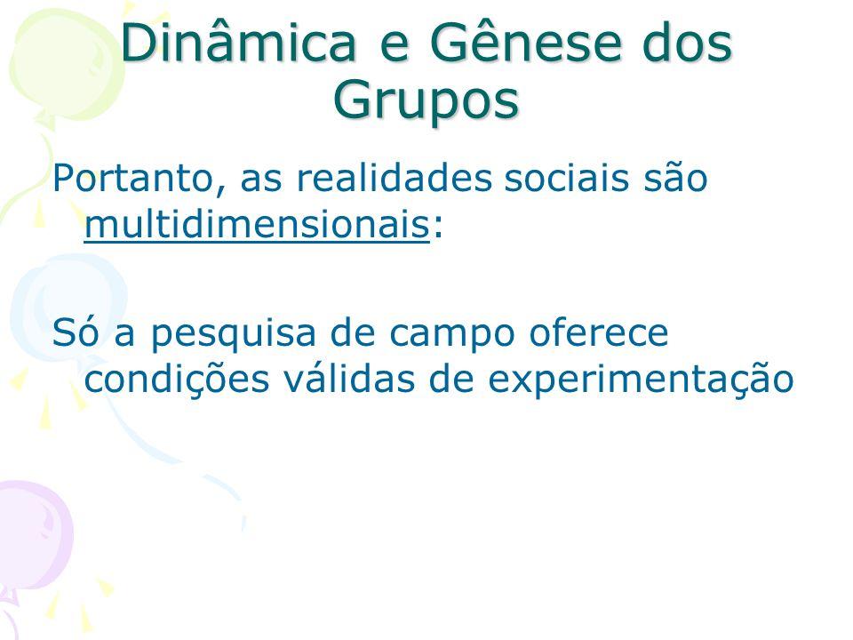 Dinâmica e Gênese dos Grupos Campo Social - Hipóteses sobre dinâmica de grupos: 1.O grupo é a base sobre o qual o indivíduo se mantém 2.O indivíduo utiliza o grupo como instrumento para satisfazer suas necessidades psíquicas ou aspirações sociais 3.O grupo é a realidade do indivíduo, independente de sua posição no grupo.
