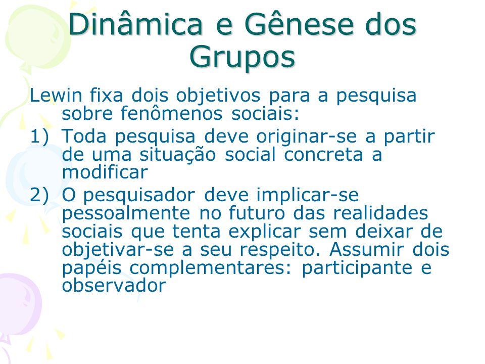 Dinâmica e Gênese dos Grupos Lewin fixa dois objetivos para a pesquisa sobre fenômenos sociais: 1)Toda pesquisa deve originar-se a partir de uma situa