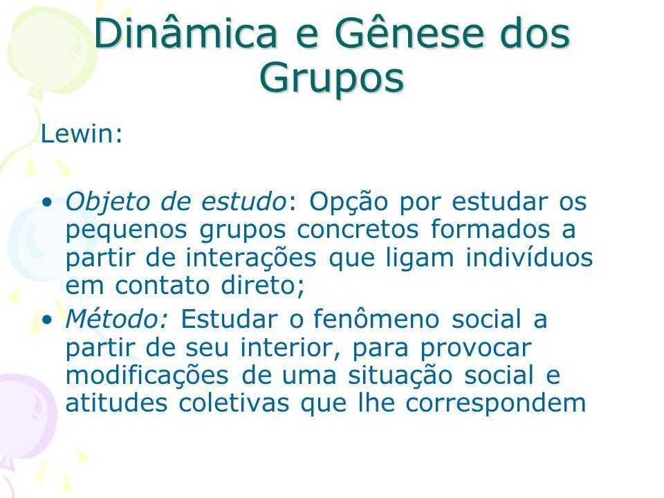 Dinâmica e Gênese dos Grupos Lewin: Objeto de estudo: Opção por estudar os pequenos grupos concretos formados a partir de interações que ligam indivíd