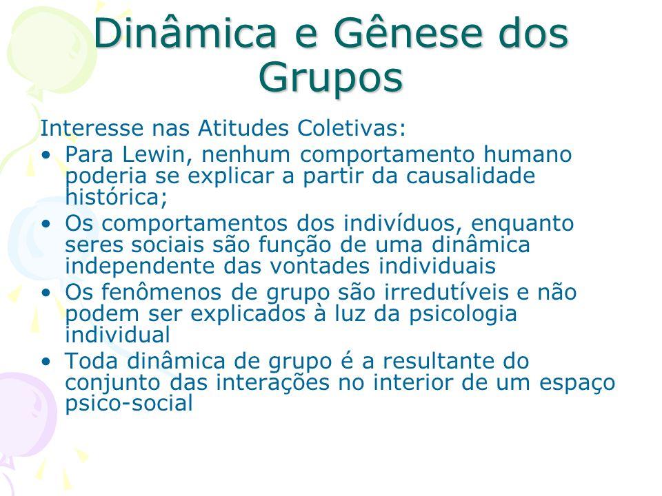Dinâmica e Gênese dos Grupos Interesse nas Atitudes Coletivas: Para Lewin, nenhum comportamento humano poderia se explicar a partir da causalidade his