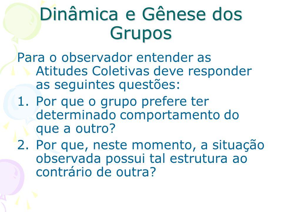 Dinâmica e Gênese dos Grupos Para o observador entender as Atitudes Coletivas deve responder as seguintes questões: 1.Por que o grupo prefere ter dete