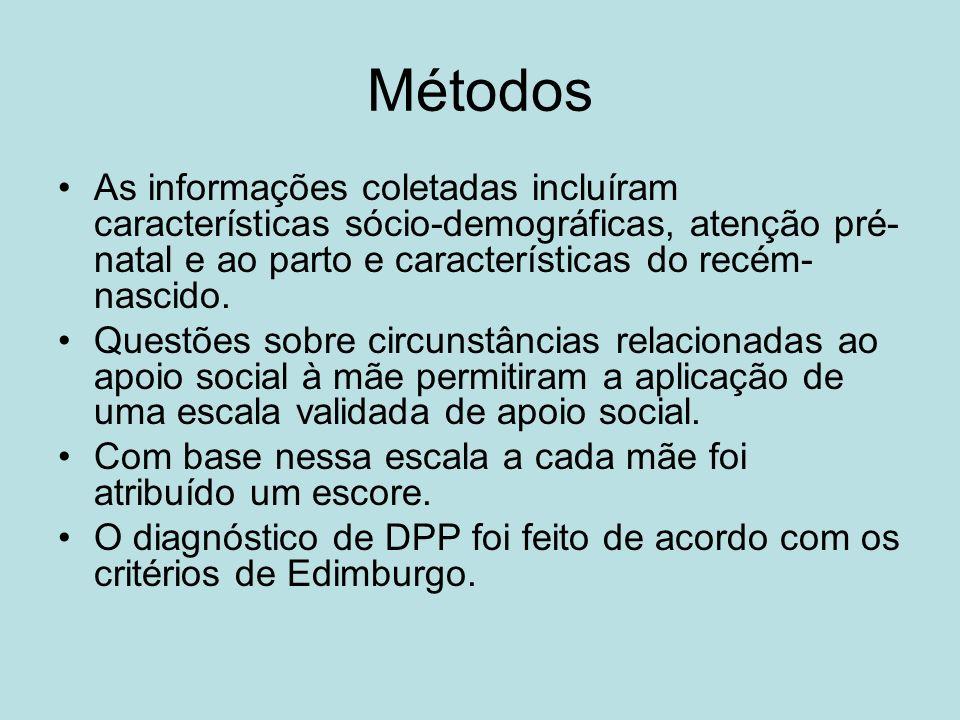 Métodos As informações coletadas incluíram características sócio-demográficas, atenção pré- natal e ao parto e características do recém- nascido. Ques