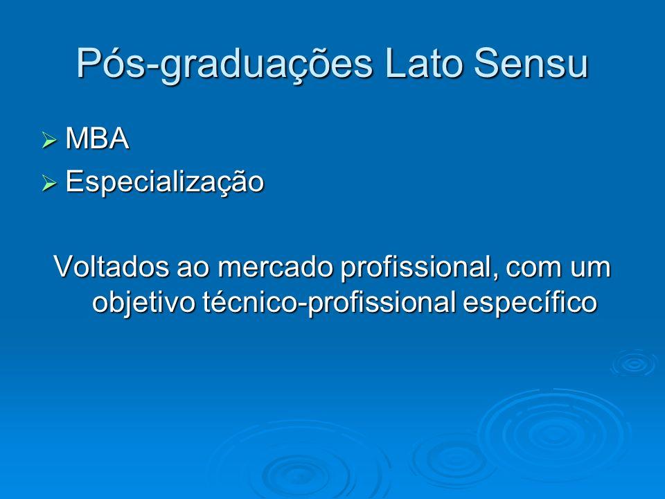 Pós-graduações Lato Sensu MBA MBA Especialização Especialização Voltados ao mercado profissional, com um objetivo técnico-profissional específico