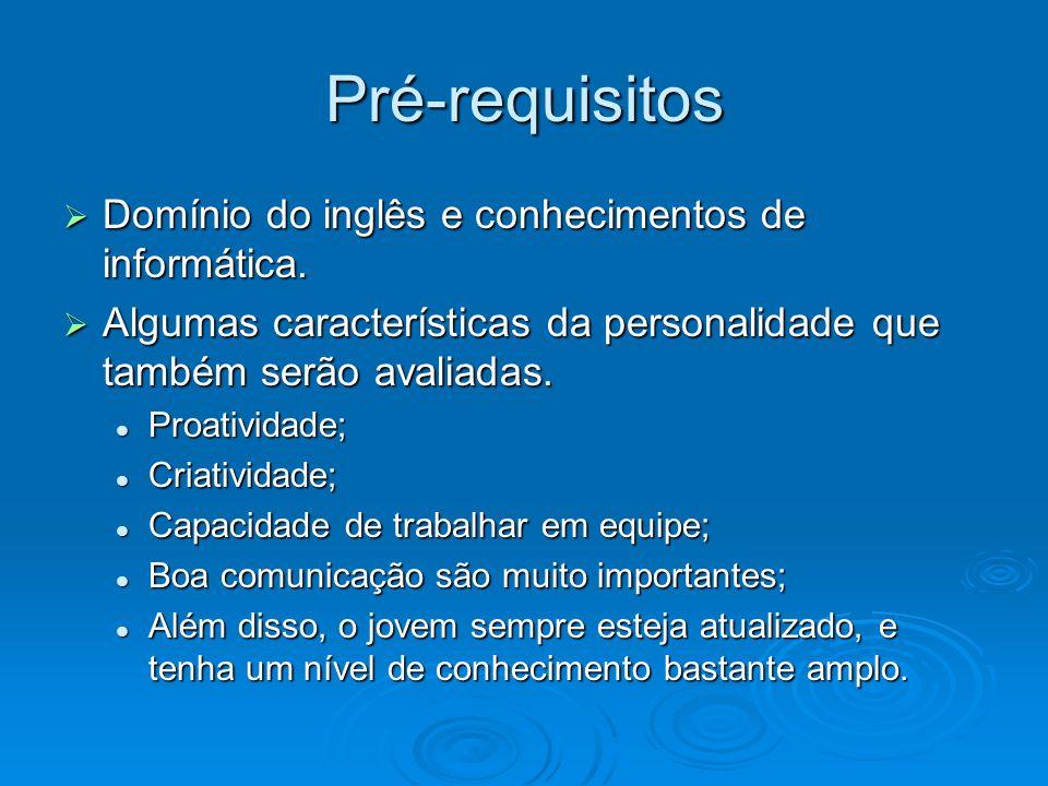 Pré-requisitos Domínio do inglês e conhecimentos de informática. Domínio do inglês e conhecimentos de informática. Algumas características da personal