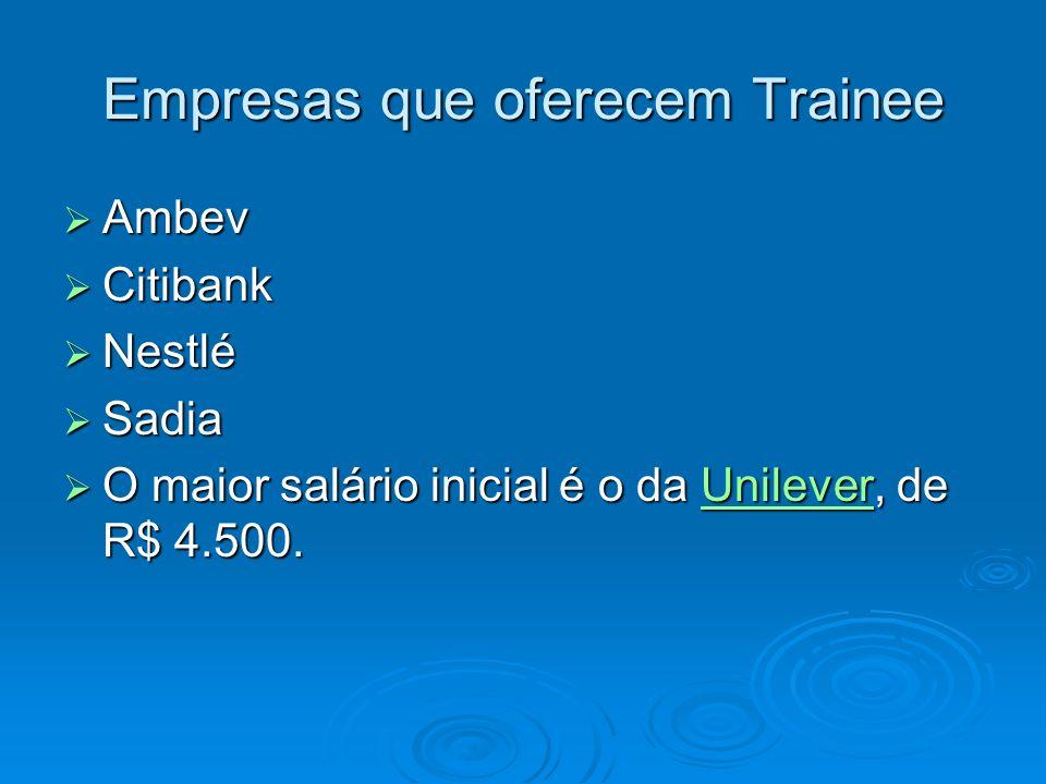 Empresas que oferecem Trainee Ambev Ambev Citibank Citibank Nestlé Nestlé Sadia Sadia O maior salário inicial é o da Unilever, de R$ 4.500. O maior sa