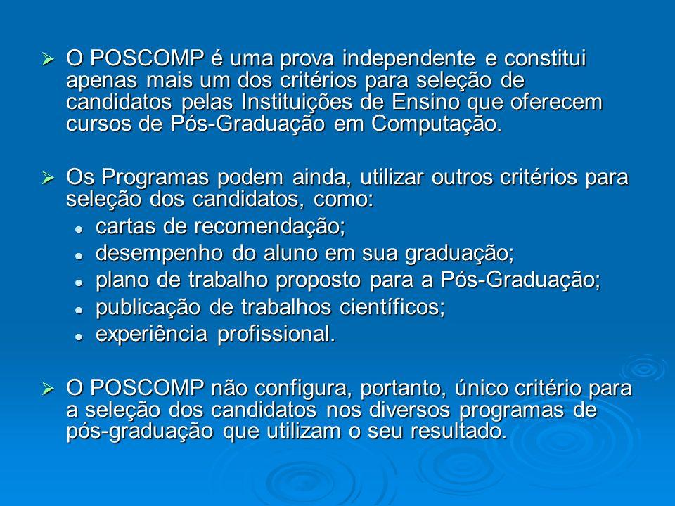 O POSCOMP é uma prova independente e constitui apenas mais um dos critérios para seleção de candidatos pelas Instituições de Ensino que oferecem curso