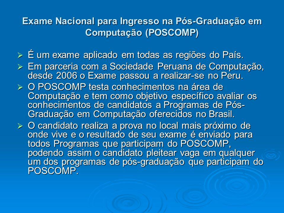 Exame Nacional para Ingresso na Pós-Graduação em Computação (POSCOMP) É um exame aplicado em todas as regiões do País. É um exame aplicado em todas as