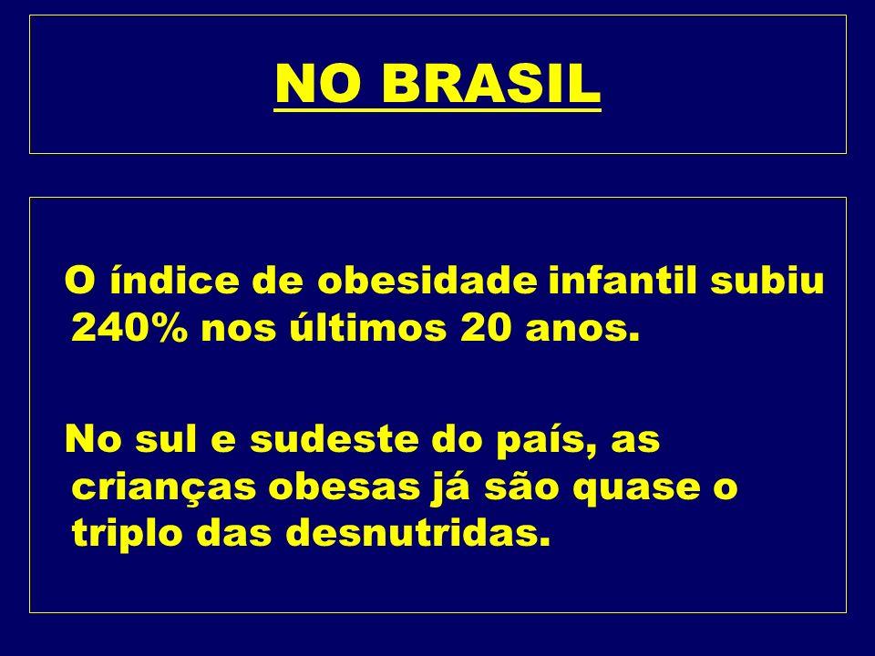 INFÂNCIA l Obesidade infantil atinge níveis de epidemia mundial. l A obesidade infantil, que atinge uma em cada 10 crianças no planeta, ou seja, 155 m