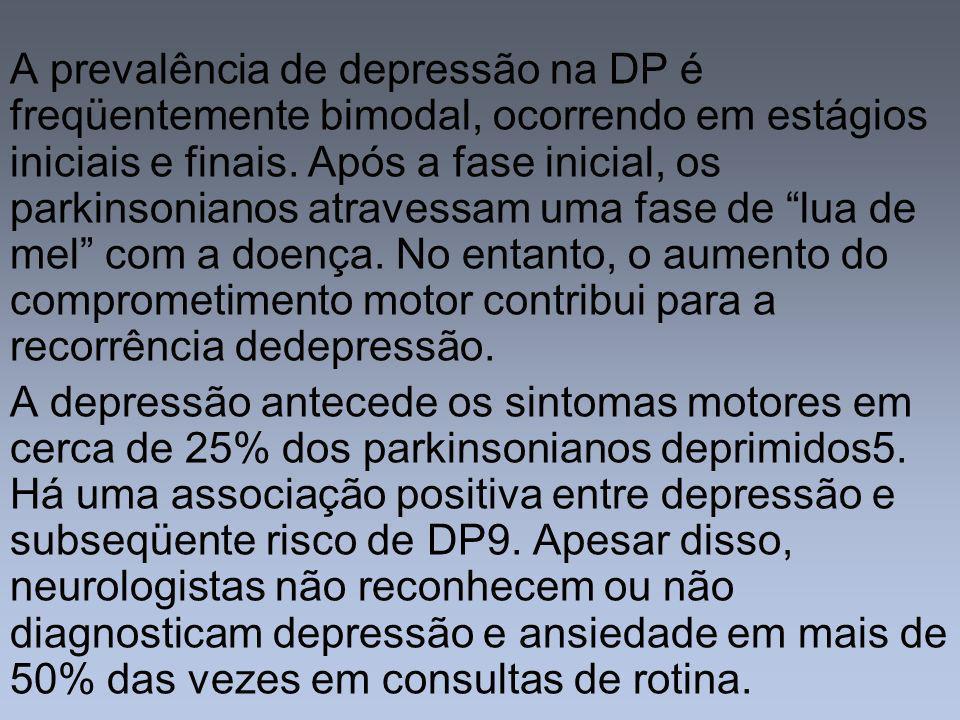 A prevalência de depressão na DP é freqüentemente bimodal, ocorrendo em estágios iniciais e finais. Após a fase inicial, os parkinsonianos atravessam