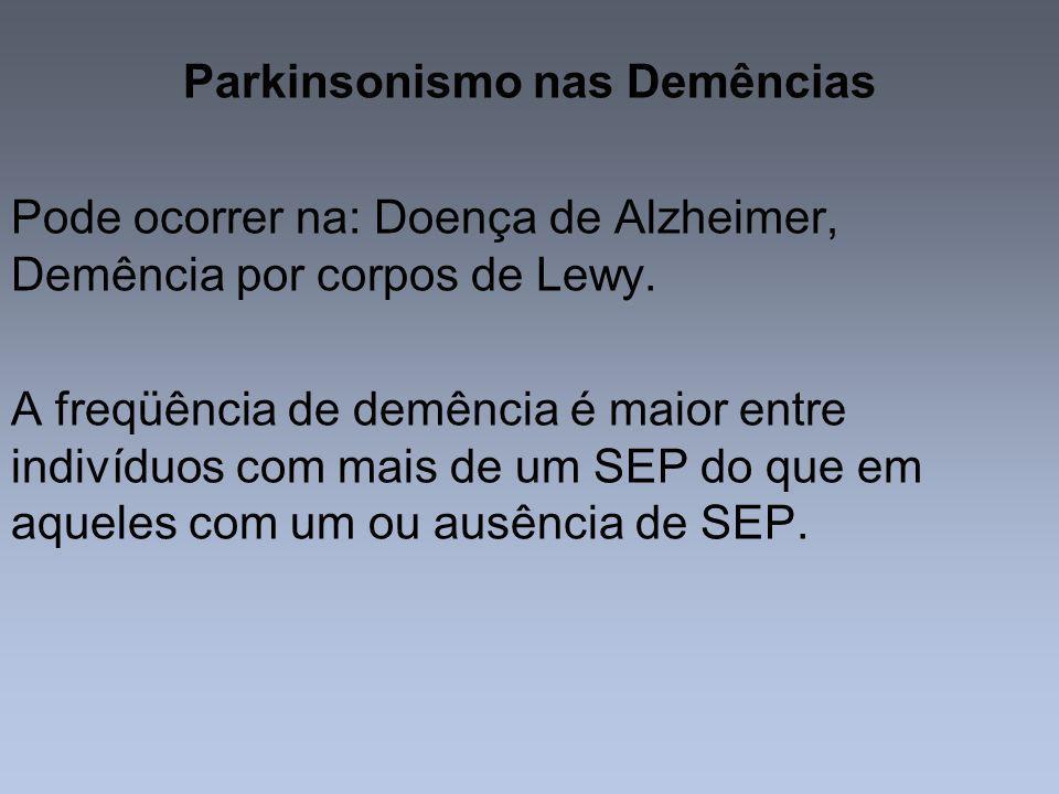 Parkinsonismo nas Demências Pode ocorrer na: Doença de Alzheimer, Demência por corpos de Lewy. A freqüência de demência é maior entre indivíduos com m