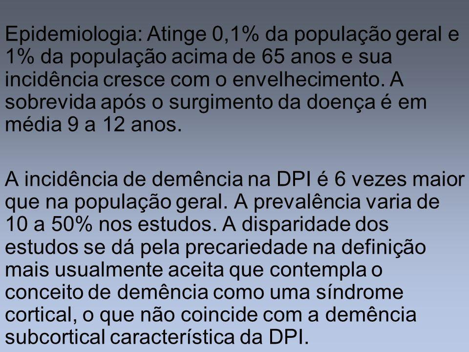 Fatores de risco para desenvolvimento de demência na DPI: Idade avançada Início da DPI em idade avançada Progressão rápida da doença Baixa resposta à levodopa, com efeitos colaterais exuberantes Presença precoce de alucinações Formas rígidas-acinéticas da doença