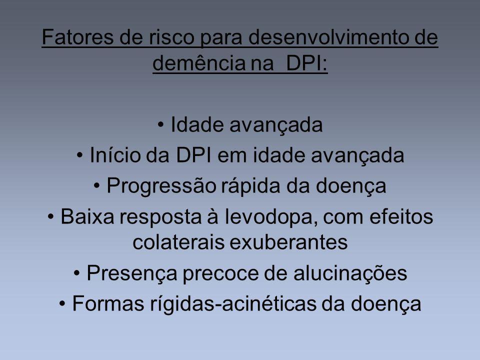 Fatores de risco para desenvolvimento de demência na DPI: Idade avançada Início da DPI em idade avançada Progressão rápida da doença Baixa resposta à