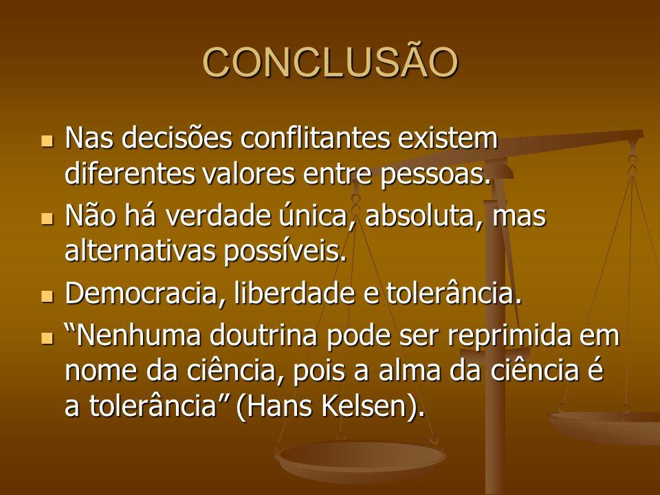 CONCLUSÃO Nas decisões conflitantes existem diferentes valores entre pessoas. Nas decisões conflitantes existem diferentes valores entre pessoas. Não