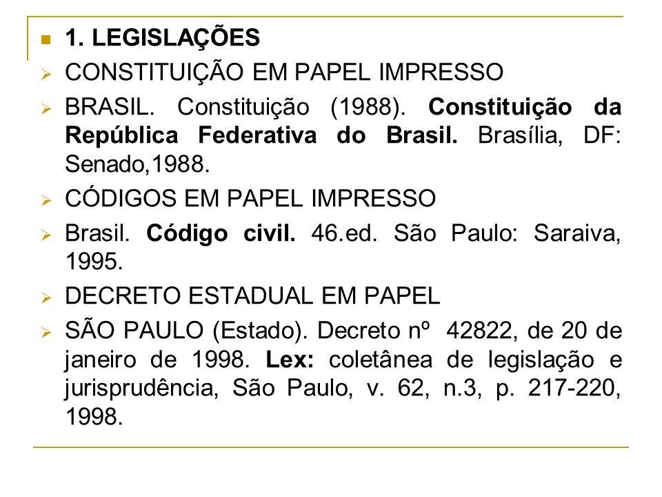 1. LEGISLAÇÕES CONSTITUIÇÃO EM PAPEL IMPRESSO BRASIL. Constituição (1988). Constituição da República Federativa do Brasil. Brasília, DF: Senado,1988.