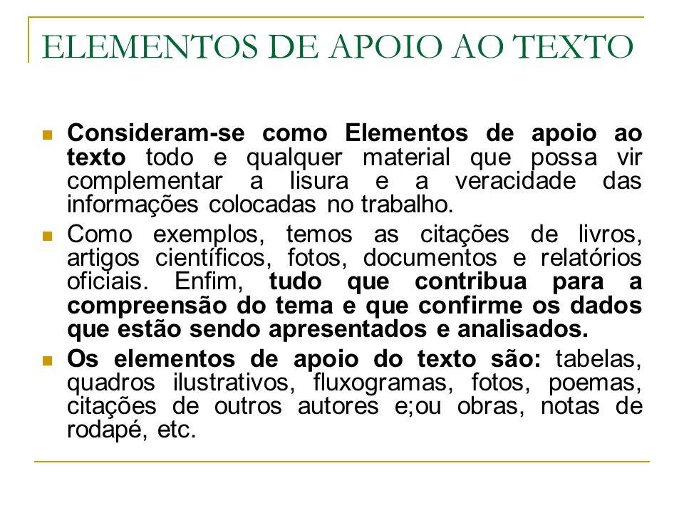 ELEMENTOS DE APOIO AO TEXTO Consideram-se como Elementos de apoio ao texto todo e qualquer material que possa vir complementar a lisura e a veracidade