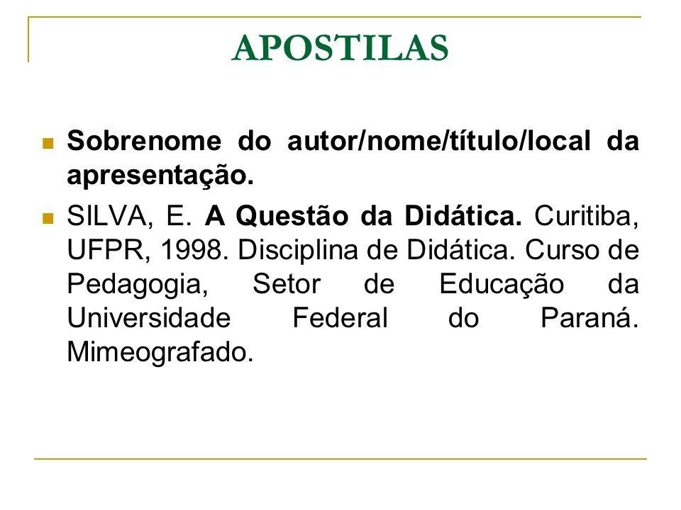 APOSTILAS Sobrenome do autor/nome/título/local da apresentação. SILVA, E. A Questão da Didática. Curitiba, UFPR, 1998. Disciplina de Didática. Curso d