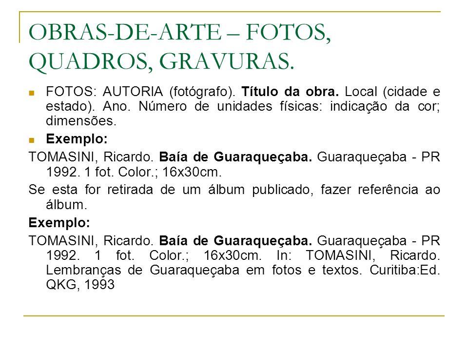 OBRAS-DE-ARTE – FOTOS, QUADROS, GRAVURAS. FOTOS: AUTORIA (fotógrafo). Título da obra. Local (cidade e estado). Ano. Número de unidades físicas: indica