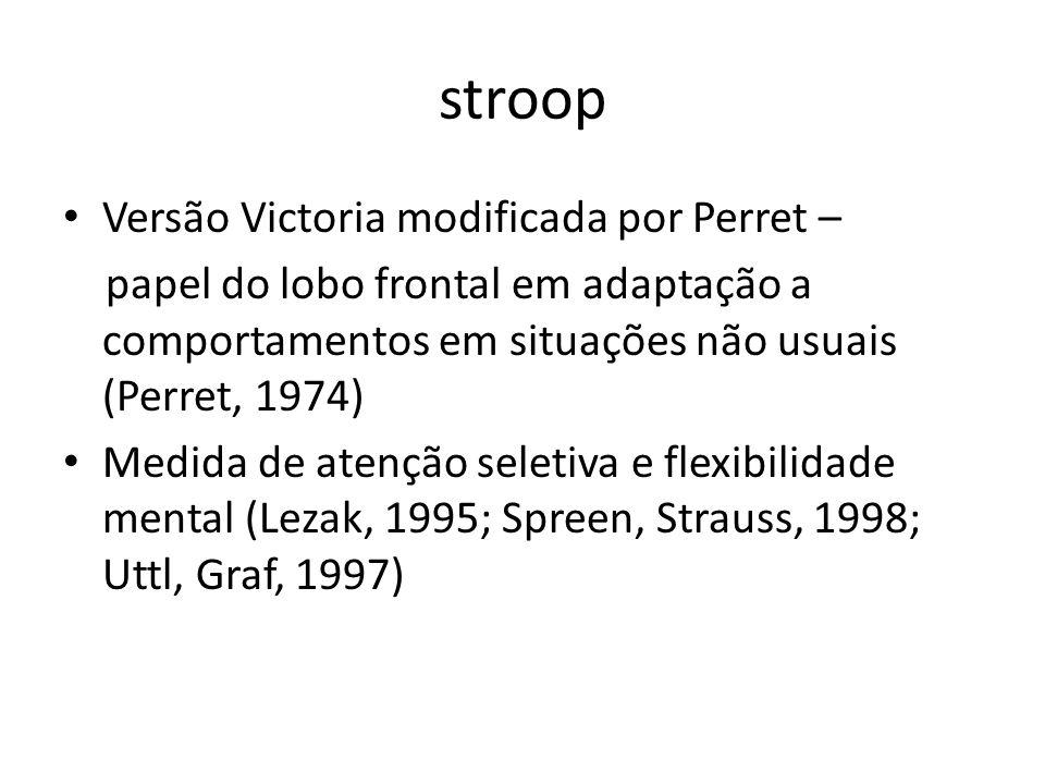 stroop Versão Victoria modificada por Perret – papel do lobo frontal em adaptação a comportamentos em situações não usuais (Perret, 1974) Medida de at