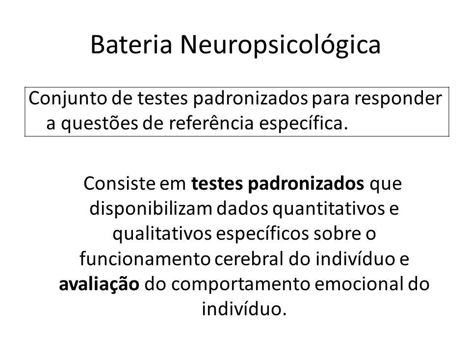 Bateria Neuropsicológica Conjunto de testes padronizados para responder a questões de referência específica. Consiste em testes padronizados que dispo