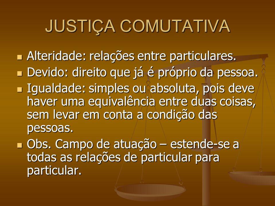 JUSTIÇA COMUTATIVA Alteridade: relações entre particulares. Alteridade: relações entre particulares. Devido: direito que já é próprio da pessoa. Devid