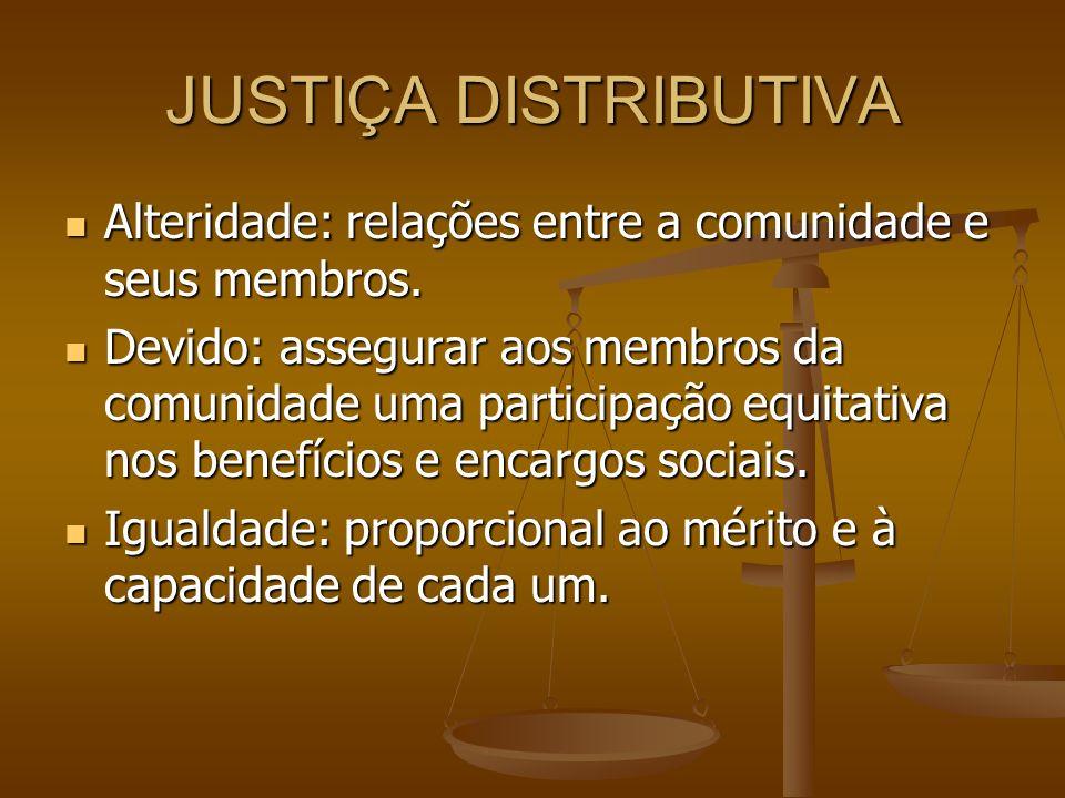 JUSTIÇA DISTRIBUTIVA Alteridade: relações entre a comunidade e seus membros. Alteridade: relações entre a comunidade e seus membros. Devido: assegurar