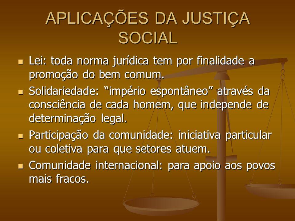 APLICAÇÕES DA JUSTIÇA SOCIAL Lei: toda norma jurídica tem por finalidade a promoção do bem comum. Lei: toda norma jurídica tem por finalidade a promoç