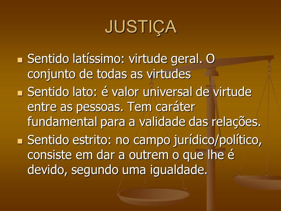 JUSTIÇA DISTRIBUTIVA Virtude pela qual a comunidade dá a cada um de seus membros uma participação no bem comum, observada uma igualdade proporcional ou relativa (Montoro).