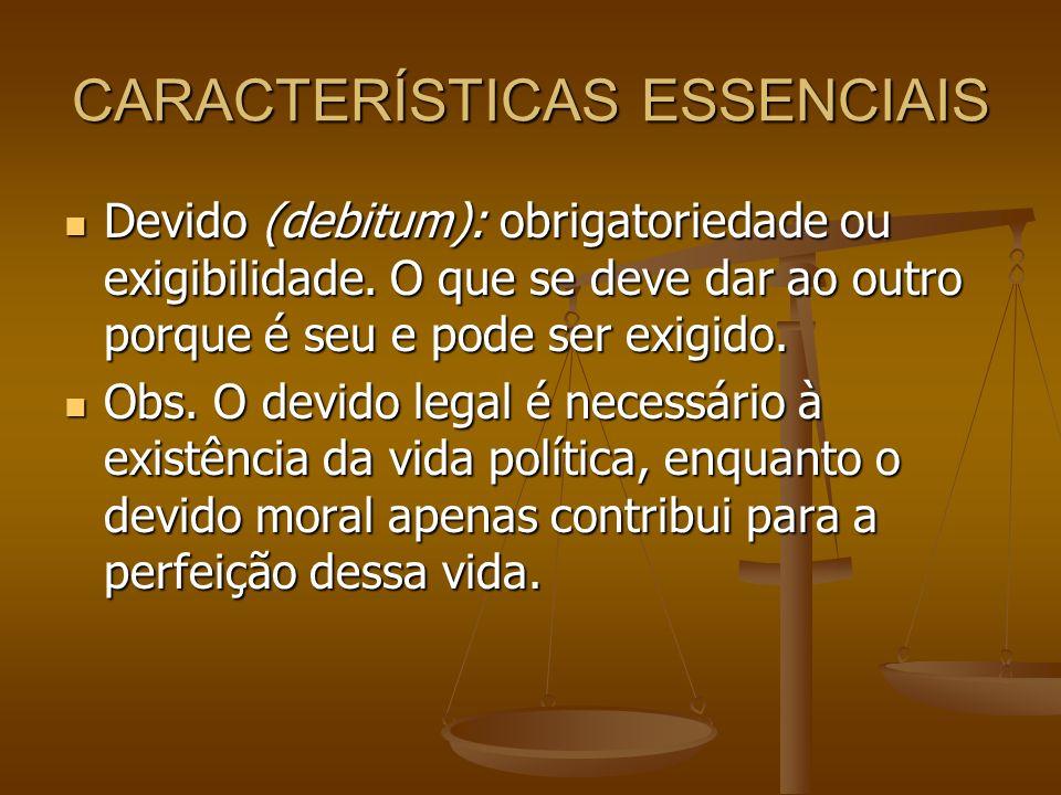 CARACTERÍSTICAS ESSENCIAIS Igualdade (aequalitas): elemento essencial e básico, pois só é devido segundo uma igualdade.