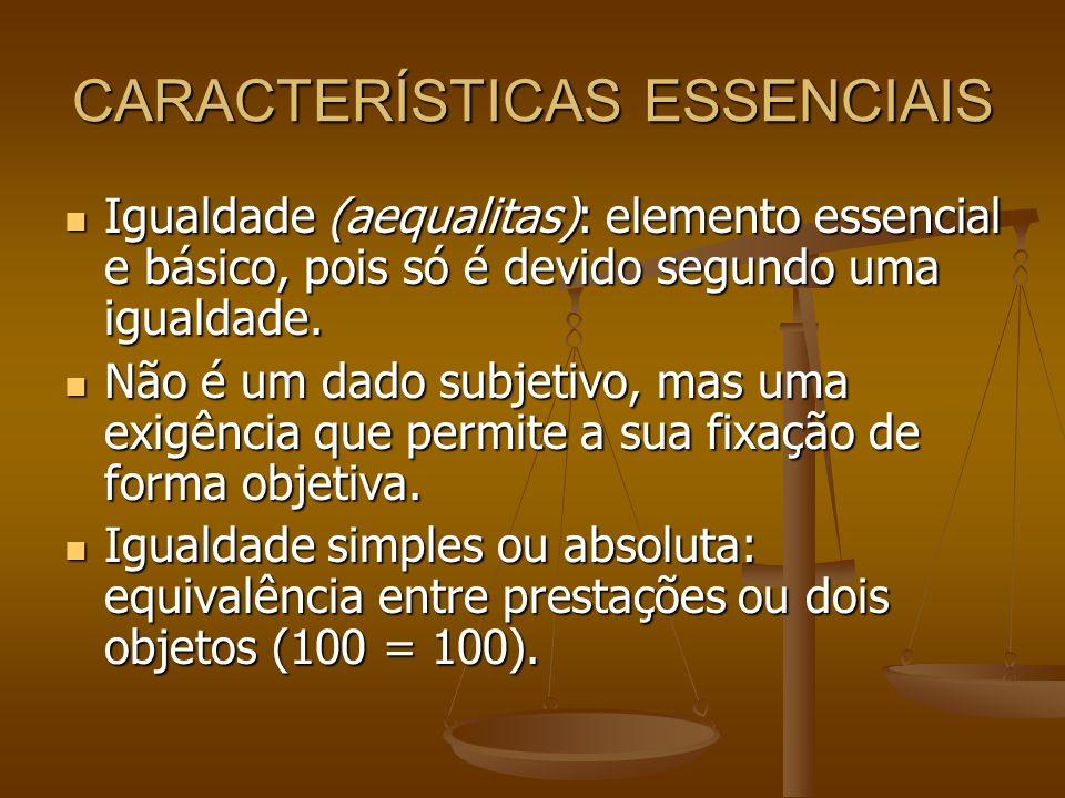 CARACTERÍSTICAS ESSENCIAIS Igualdade (aequalitas): elemento essencial e básico, pois só é devido segundo uma igualdade. Igualdade (aequalitas): elemen
