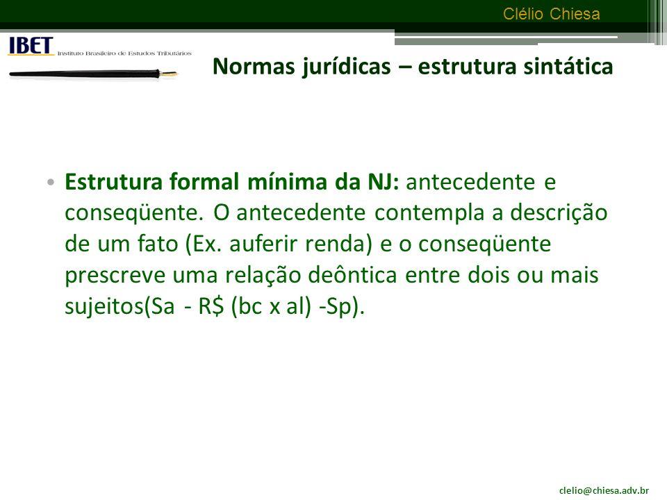 clelio@chiesa.adv.br Clélio Chiesa Normas jurídicas Significações construídas a partir dos textos de direito positivo organizadas na forma de implicacional.