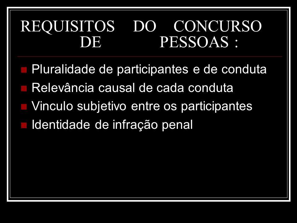 REQUISITOS DO CONCURSO DE PESSOAS : Pluralidade de participantes e de conduta Relevância causal de cada conduta Vinculo subjetivo entre os participant
