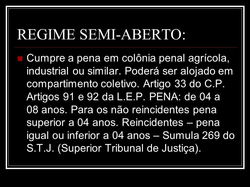 REGIME SEMI-ABERTO: Cumpre a pena em colônia penal agrícola, industrial ou similar. Poderá ser alojado em compartimento coletivo. Artigo 33 do C.P. Ar