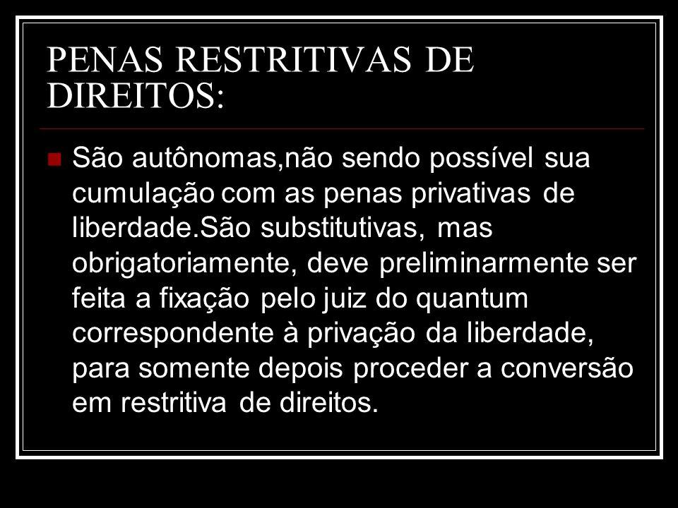 PENAS RESTRITIVAS DE DIREITOS: São autônomas,não sendo possível sua cumulação com as penas privativas de liberdade.São substitutivas, mas obrigatoriam
