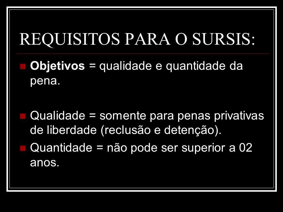 REQUISITOS PARA O SURSIS: Objetivos = qualidade e quantidade da pena. Qualidade = somente para penas privativas de liberdade (reclusão e detenção). Qu