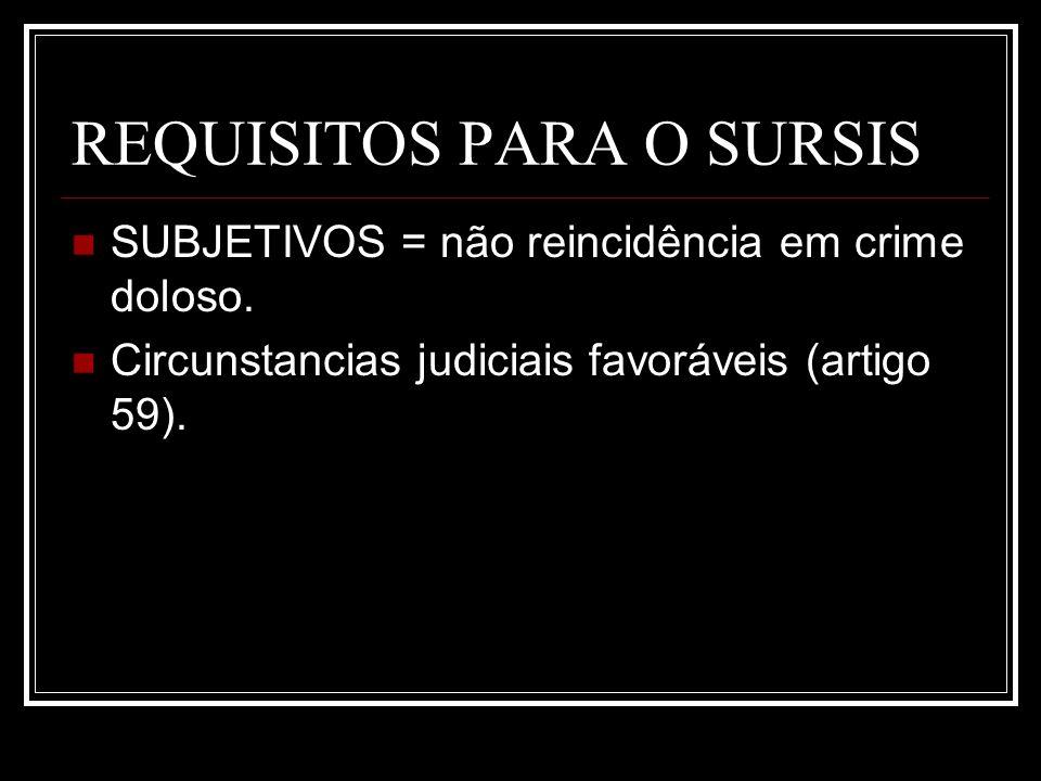 REQUISITOS PARA O SURSIS SUBJETIVOS = não reincidência em crime doloso. Circunstancias judiciais favoráveis (artigo 59).