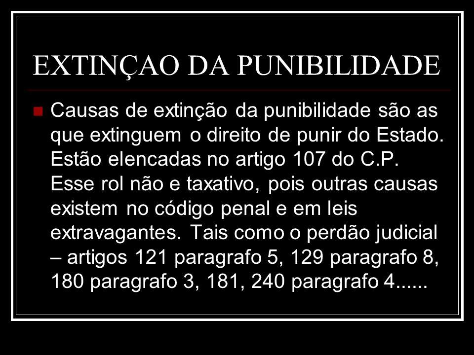 EXTINÇAO DA PUNIBILIDADE Causas de extinção da punibilidade são as que extinguem o direito de punir do Estado. Estão elencadas no artigo 107 do C.P. E