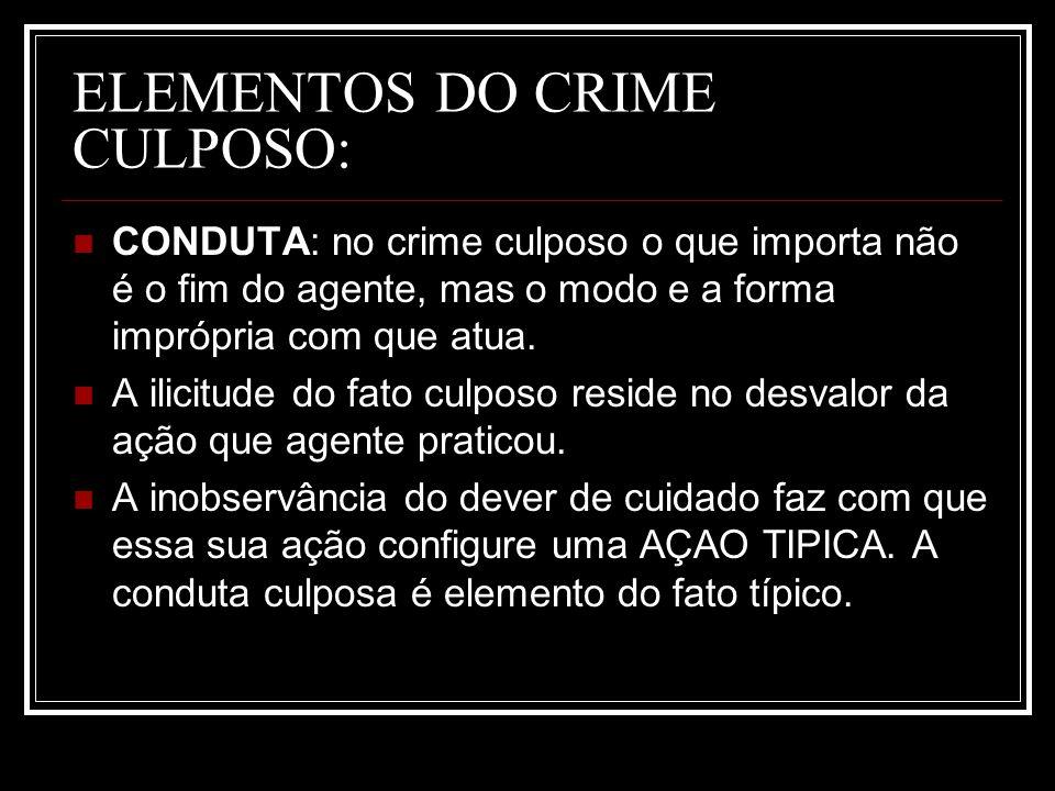 ELEMENTOS DO CRIME CULPOSO: CONDUTA: no crime culposo o que importa não é o fim do agente, mas o modo e a forma imprópria com que atua. A ilicitude do