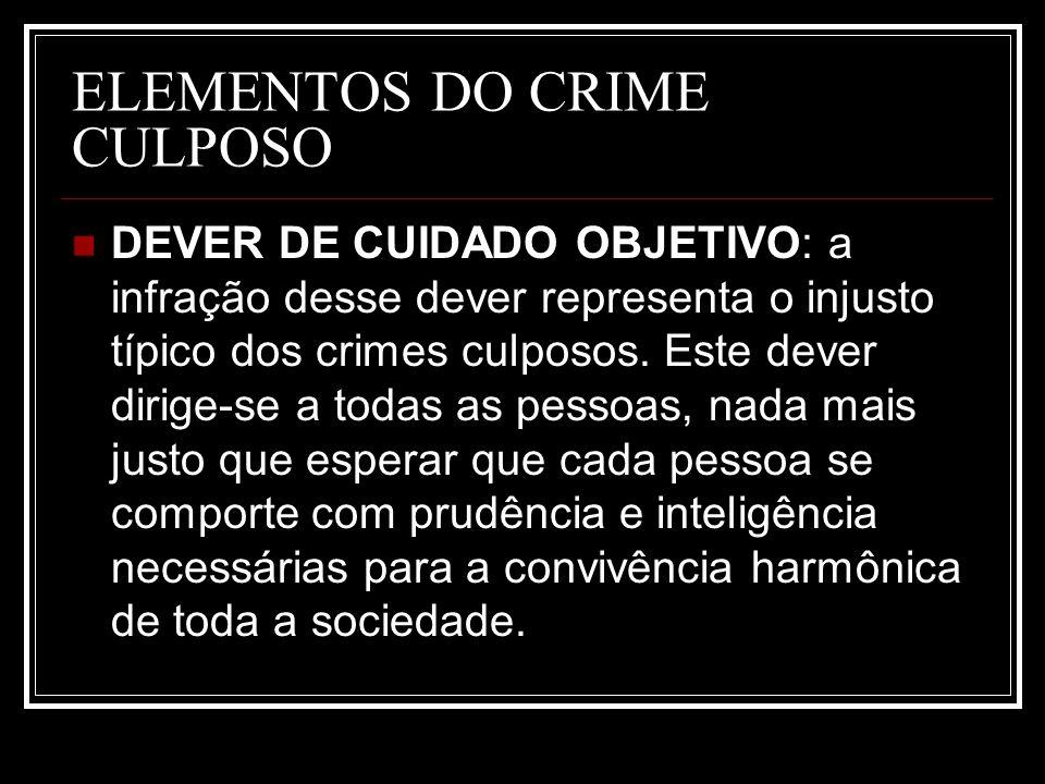 ELEMENTOS DO CRIME CULPOSO DEVER DE CUIDADO OBJETIVO: a infração desse dever representa o injusto típico dos crimes culposos. Este dever dirige-se a t