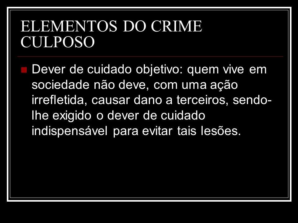ELEMENTOS DO CRIME CULPOSO Dever de cuidado objetivo: quem vive em sociedade não deve, com uma ação irrefletida, causar dano a terceiros, sendo- lhe e