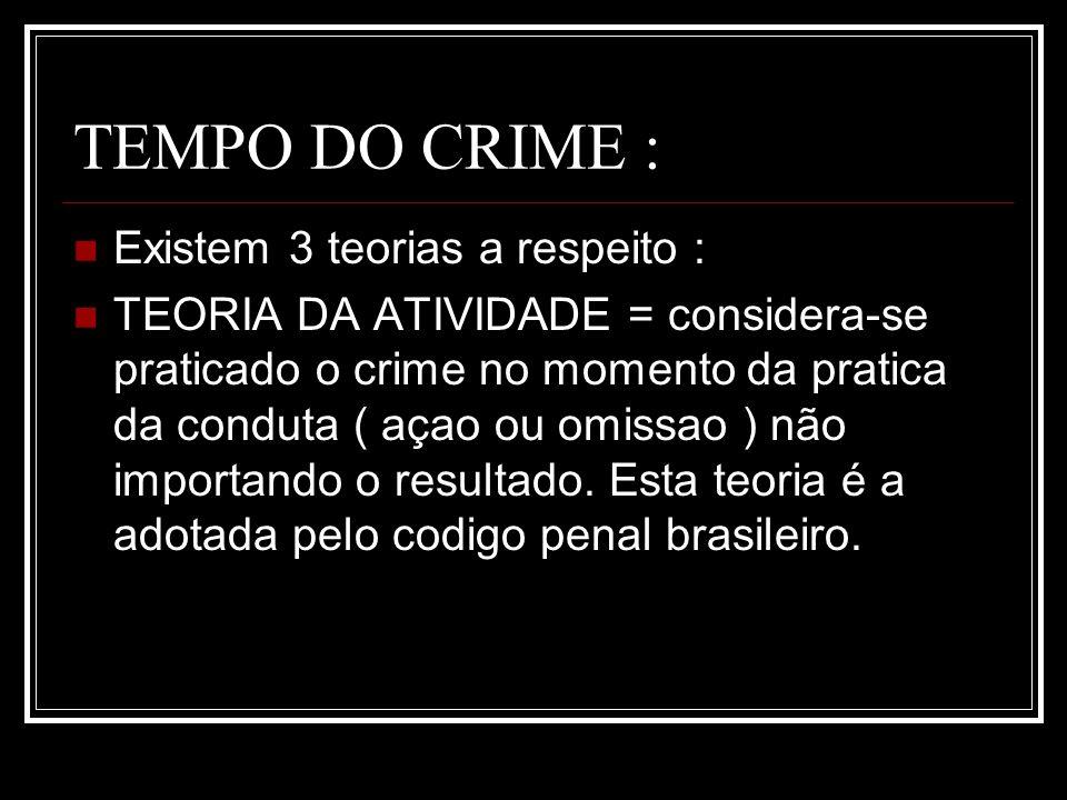 TEMPO DO CRIME : Existem 3 teorias a respeito : TEORIA DA ATIVIDADE = considera-se praticado o crime no momento da pratica da conduta ( açao ou omissa
