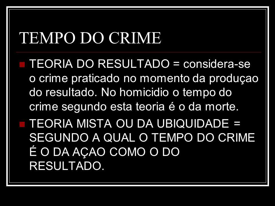TEMPO DO CRIME TEORIA DO RESULTADO = considera-se o crime praticado no momento da produçao do resultado. No homicidio o tempo do crime segundo esta te