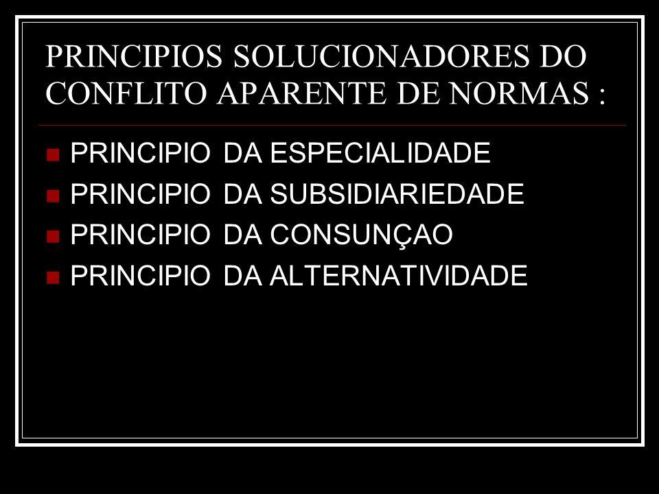 PRINCIPIOS SOLUCIONADORES DO CONFLITO APARENTE DE NORMAS : PRINCIPIO DA ESPECIALIDADE PRINCIPIO DA SUBSIDIARIEDADE PRINCIPIO DA CONSUNÇAO PRINCIPIO DA
