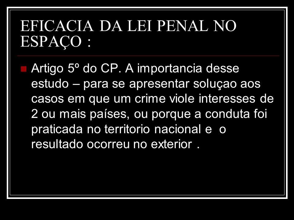 EFICACIA DA LEI PENAL NO ESPAÇO : Artigo 5º do CP. A importancia desse estudo – para se apresentar soluçao aos casos em que um crime viole interesses